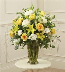 Beautiful Blessings Vase Arrangement - Yellow Funeral - Sympathy