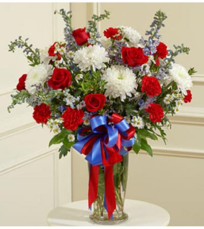 Beautiful Blessings Vase - Patriotic Arrangement