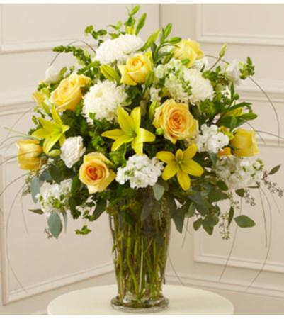 Beautiful Blessings Vase - Yellow Sympathy Arrangement