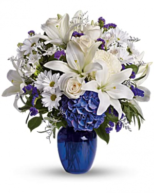 Beautiful Blue And White Flower Arrangement in Tulsa, OK | THE WILD ORCHID FLORIST
