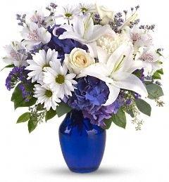 Beautiful Blue Fresh Flower Arrangement