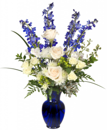 beautiful blue vase arrangement