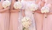 Beautiful Blush  Bride and (4) Bridesmaids Bouquets
