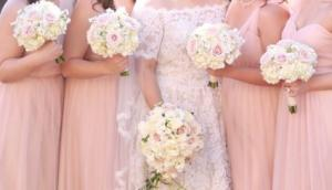 Beautiful Blush  Bride and (4) Bridesmaids Bouquets in Riverside, CA | Willow Branch Florist of Riverside