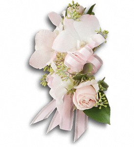 Wedding* Beautiful Blush Corsage T196-3a Dendrobium orchids and spray roses