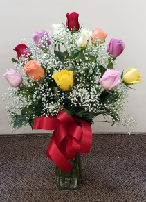 Beautiful Dozen Mixed Colored Roses     FHF-81