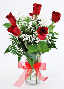 Beautiful Half Dozen Red Roses Flower Arrangement