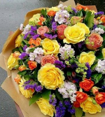 Beautiful Hand Wrapped Bouquet Choose Bright or Pastels