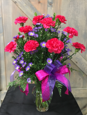 Beautiful Hot Pink Carnations Vase Arrangement in Lebanon, NH | LEBANON GARDEN OF EDEN FLORAL SHOP