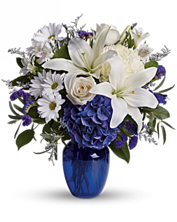 Beautiful in Blue Bouquet Vase Arrangement