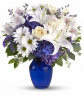 Beautiful in Blue  Flower Arrangement  (T209-3A)