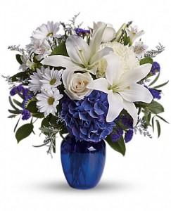 Beautiful In Blue Fresh Arrangement