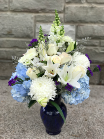 Beautiful in Blue Funeral Arrangement  Vase