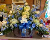 Beautiful in Blue  Funeral basket