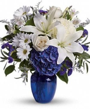Beautiful In Blue  Vase arrangement in Delta, BC | FLOWERS BEAUTIFUL