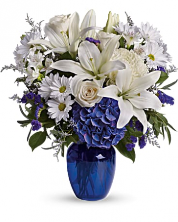 Beautiful in Blue T209-3A Vase Arrangement
