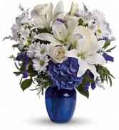 Beautiful In Blue           T209-3 vase arrangement