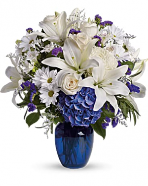 beautiful in blue vase arrangement in Berkley, MI | DYNASTY FLOWERS & GIFTS