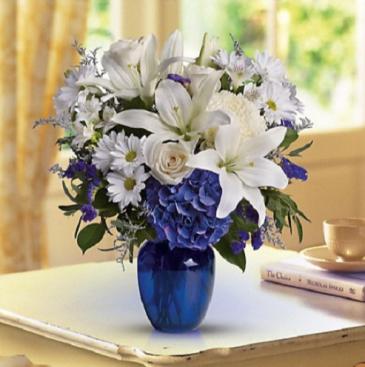 T209-3B Beautiful in Blue Vase Arrangement