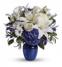 Beautiful in Blue Vase by Rose Bowl Florists