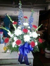 Beautiful in red,white & Blue  Sympathy vase bouquet