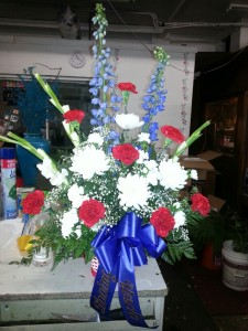 Beautiful In Red White Blue Sympathy Vase Bouquet In Sacramento Ca Double D S Florist Gifts