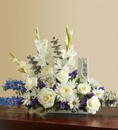 Beautiful Memories - Blue and White sympathy flowers