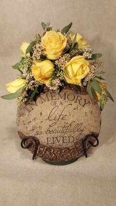 Beautiful Memories Memory stone, with stand and floral arrangement