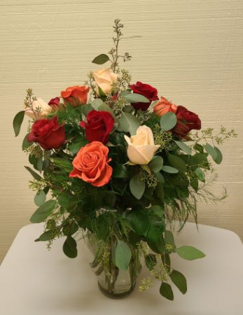 Beautiful Mixed Colored Roses Vase