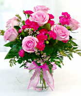 beautiful pink assortment in vase