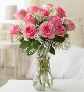 Beautiful Pink Roses  Vase Arrangement