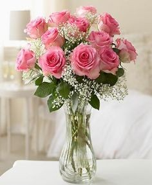 Beautiful Pink Roses  Vase Arrangement in Elkton, MD | FAIR HILL FLORIST