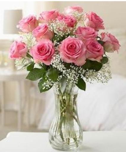 Beautiful Pink Roses  Vase Arrangement