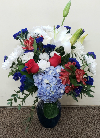 Beautiful Red White and Blue Vase Arrangement