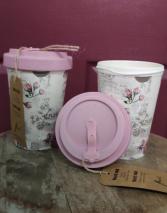 Beautiful vintage floral bamboo travel mug.  Travel mug