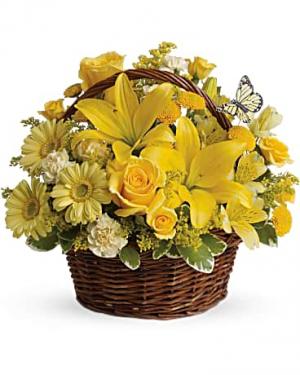 Vibrant Yellow Garden Basket Flower Arrangement in Tulsa, OK | THE WILD ORCHID FLORIST