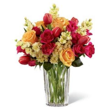 Beauty and Grace Bouquet  Glass assorted flowers