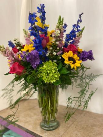 Beauty-Full Tall vase of lovely flowers