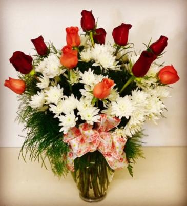 Because She Loves Roses 1 Dozen Mixed Roses Vase Arrangement
