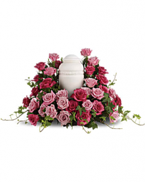 Bed of Pink Roses Cremation Flowers   (urn not included)