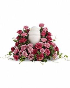Bed of Pink Roses Sympathy Arrangement