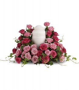 Bed of Pink Roses Urn Flowers