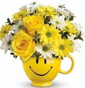 Be Happy Bouquet mug arrangement