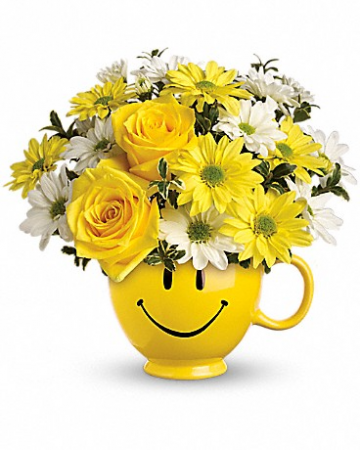 Be Happy Happy Face Mug Arrangement