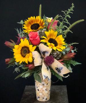 Bee Happy Mug Arrangement  Ceramic Mug in Chesterfield, MO | ZENGEL FLOWERS AND GIFTS