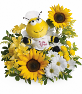 Bee Well Bouquet One-Sided Floral Arrangement