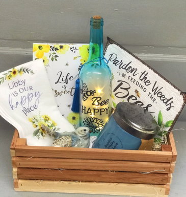 Bees and Weeds crate  Gift Basket