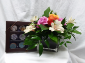 Belgian Chocolates and Blooms Vase of Blooms And Candy