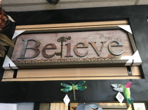 "Believe 13.5"" X 37"" Framed Glass Sign"