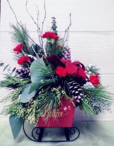 Believe Sleigh with Flowers